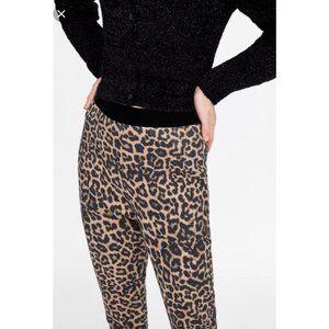 Zara Basic Leopard Print Leggings sz M